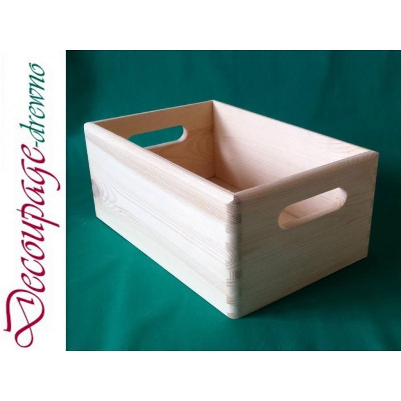 Image of Drewniana skrzynka 30x20 cm skrzynia pudełko do decoupage