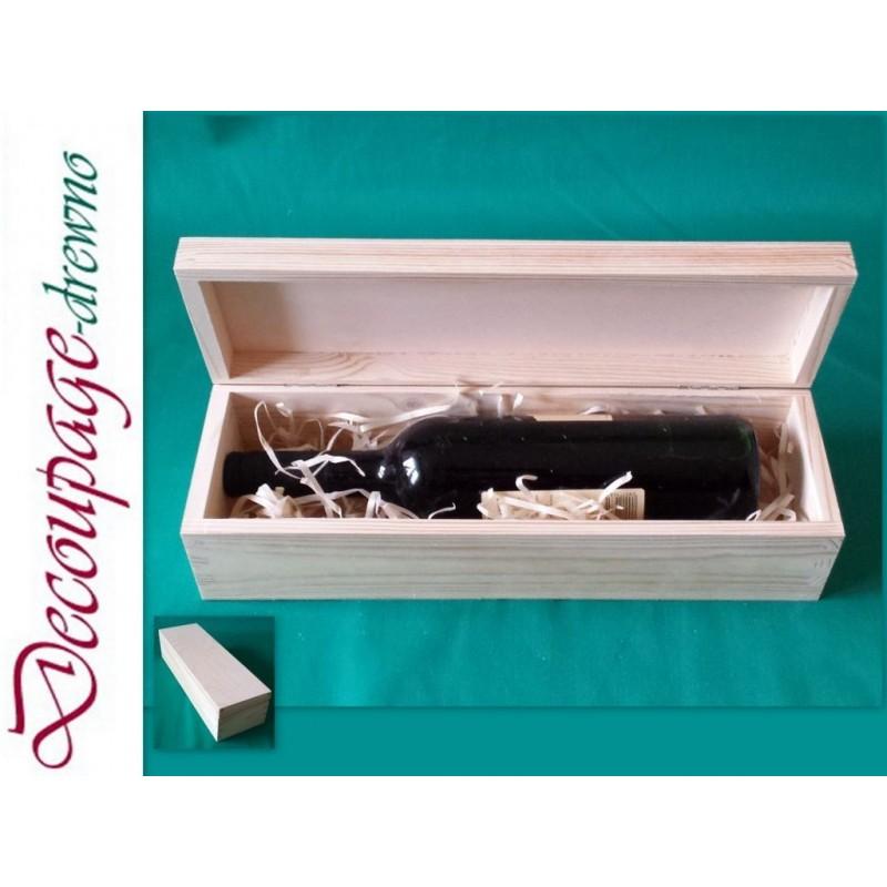 Image of Drewniane pudełko na wino z drewna zamykane do DECOUPAGE