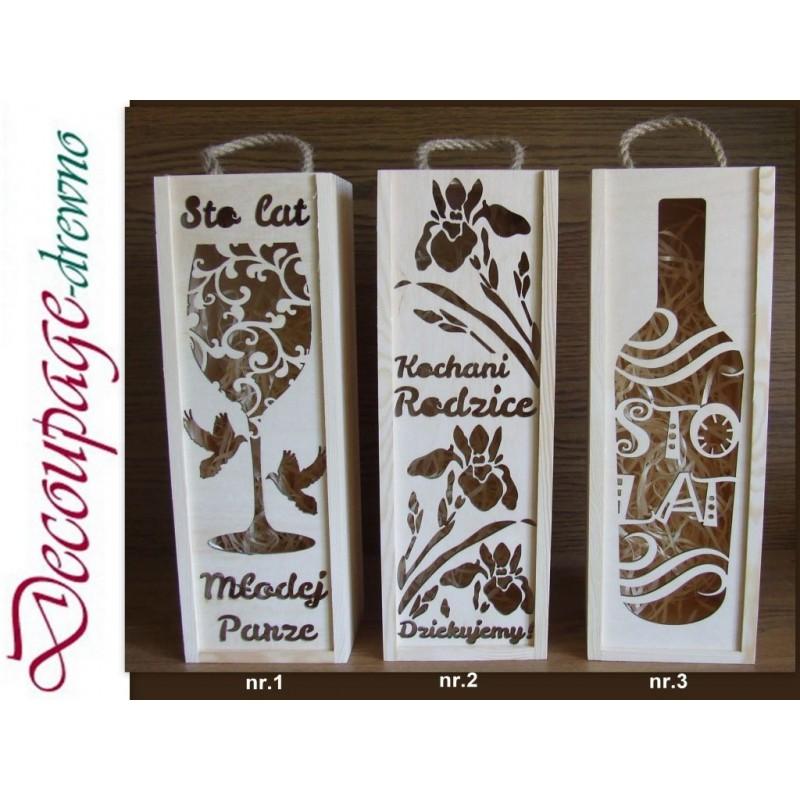 Image of Drewniana Skrzynka na wino ażurowa na każdą okazje Prezent !